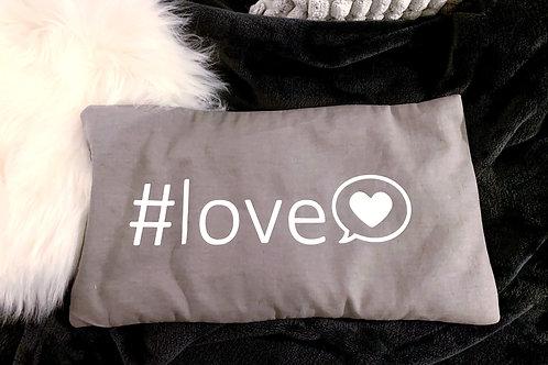 """Wärmekissen grau - Aufdruck """"#love"""""""