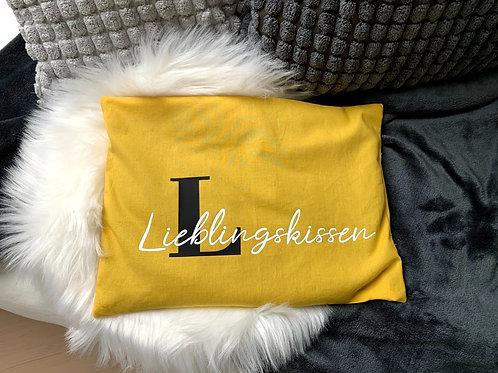 """Wärmekissen gelb - Aufdruck """"Lieblingskissen"""""""