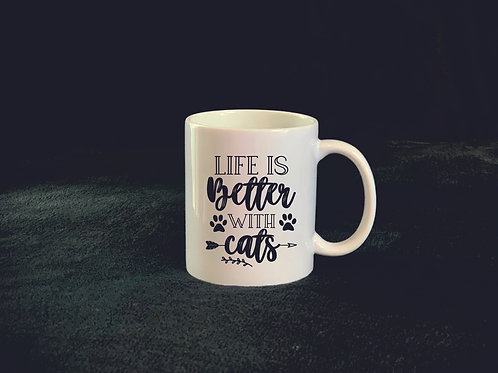 "Tasse ""Live is better with cats"""