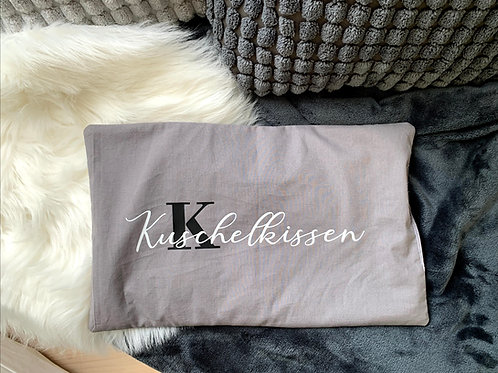 """Wärmekissen grau - Aufdruck """"Kuschelkissen"""""""