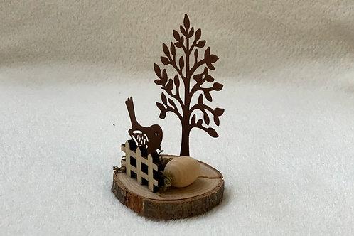 Deko Vogel mit Baum in rostigem Metall