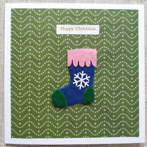 Christmas felt Christmas stocking card