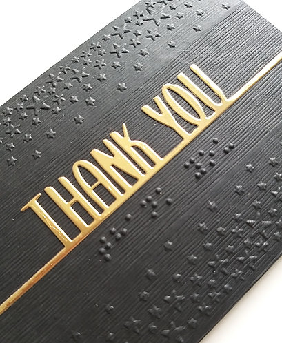 Handmade embossed with die cut gold 'thank you' card