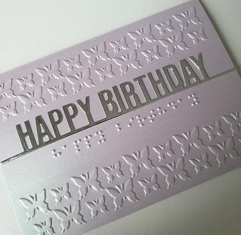 Braille Birthday butterflies embossed card