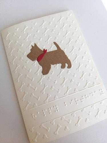 Braille Scottie dog card for Blind