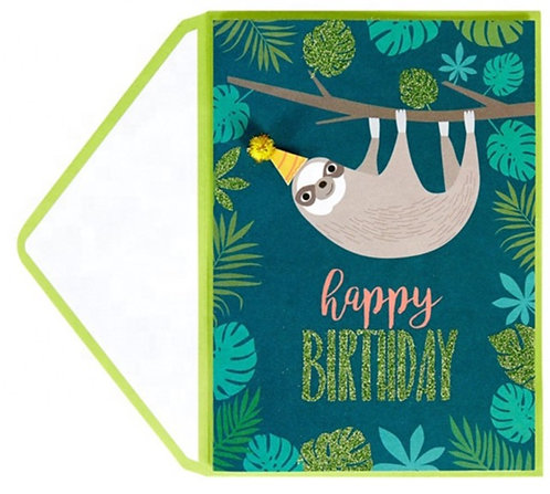 Sloth with party hat  birthday card