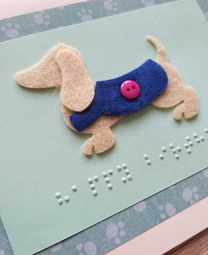 Greetings card with Braille Happy Birthday message and felt sausage dog