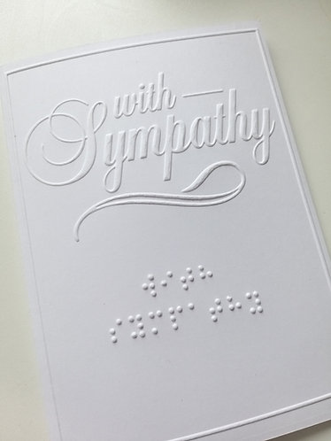 Braille With sympathy condolences bereavement card