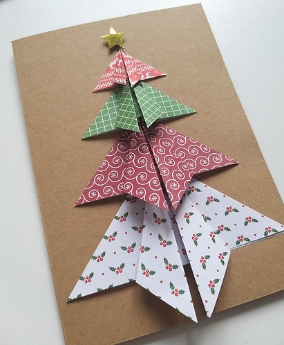 Braille origami Christmas tree card