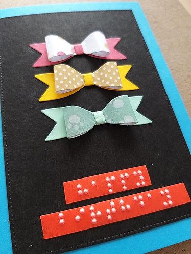 Braille Birthday bows card