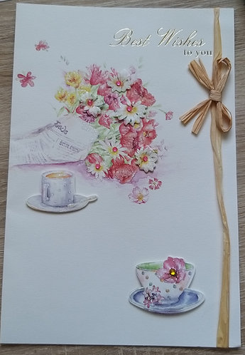 Braille All occasions bouquet of flowers card