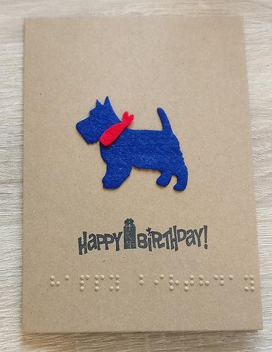 Braille Scottie dog card