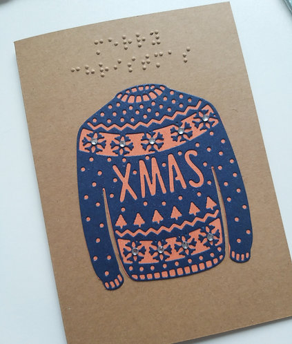 Braille Christmas jumper sweater card