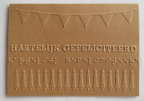 Braille Dutch Gefeliciteered wenskaart birthday card