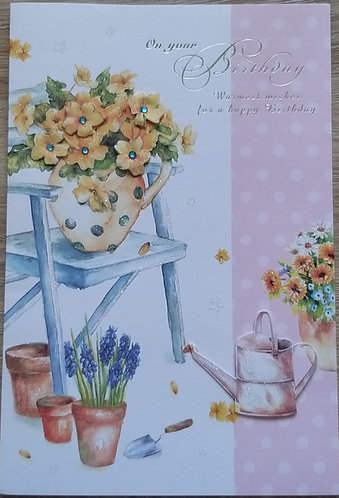 Braille Happy birthday floral card