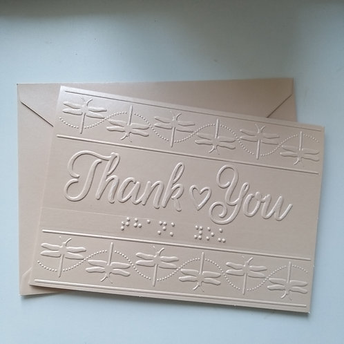 Braille dragonflies embossed thank you card