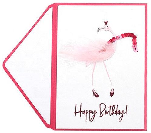 Braille Flamingo birthday card