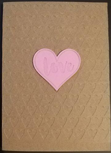 Braille Pink Heart 'Love' Card