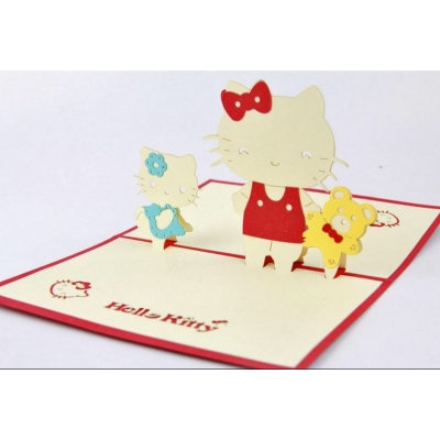 Pop Up Hello Kitty cat  All occasions greetings card
