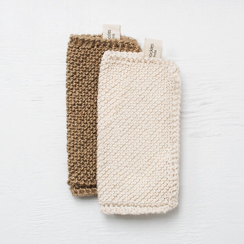 Toockies Cleaning Cloths - Set of Two, Cotton & Jute