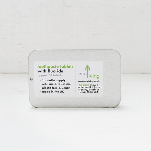 EcoLiving Toothpaste Tablets With Fluoride - In Refillable Tin