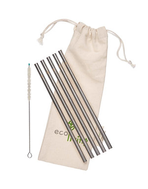 5 Stainless Steel Straws, Cleaning Brush & Pouch - Straight