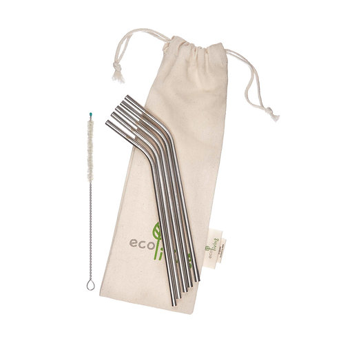 5 Stainless Steel Straws, Cleaning Brush & Pouch - Angled