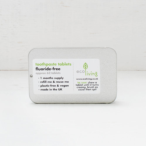 EcoLiving Toothpaste Tablets, Fluoride-Free - In Refillable Tin
