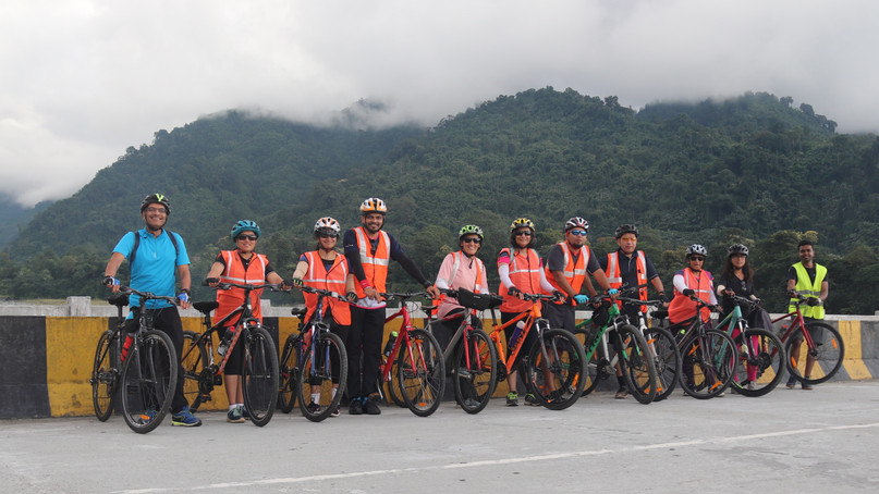 Cycling across the white water - Roing, Arunachal
