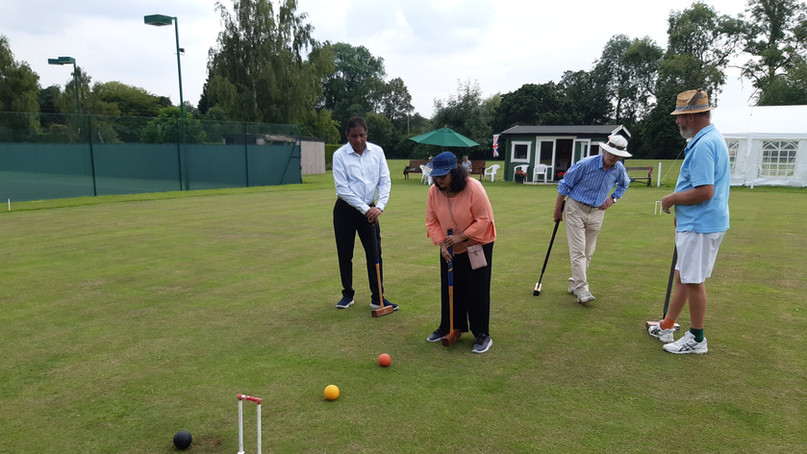 Play English club sport of Croquet - Cotswolds, England