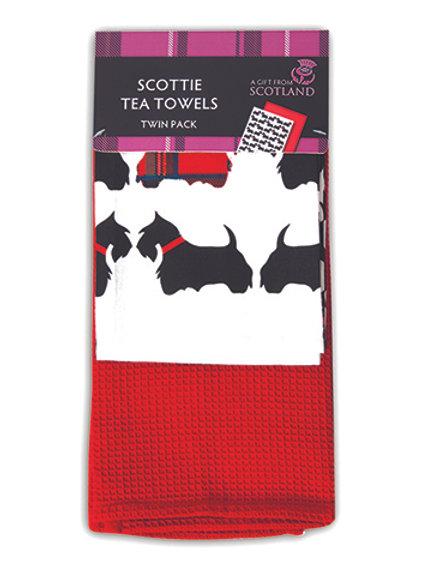 TS04 - Scottie Dog Tea Towel Twin Pack