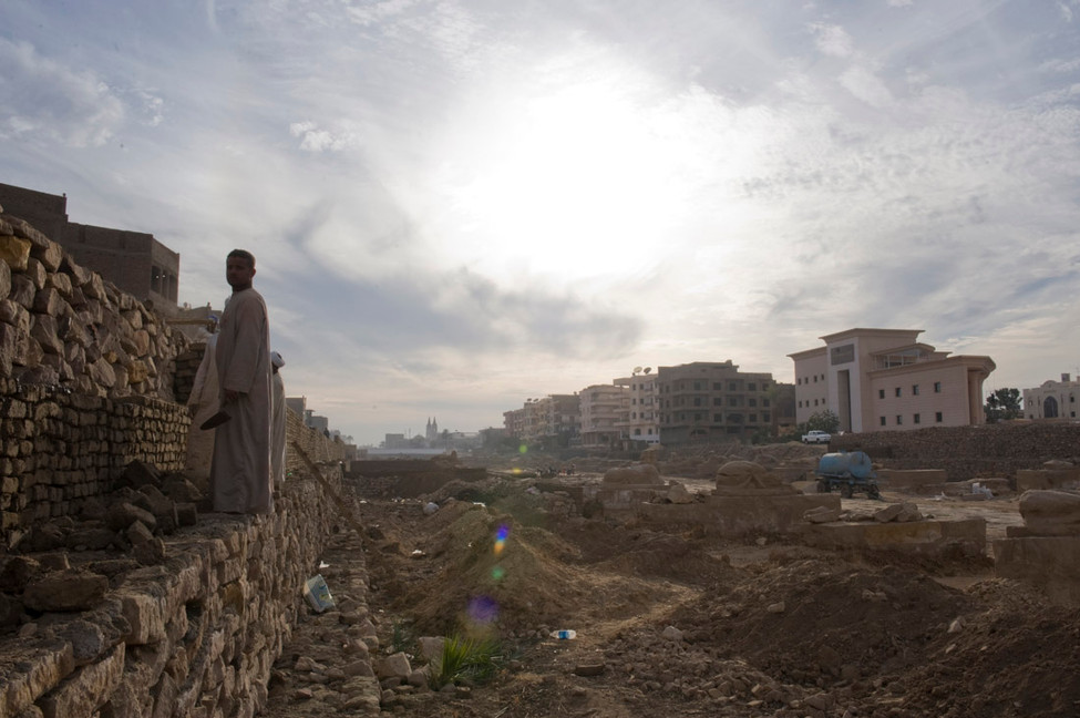 Excavation of the 2000 year-old Alley of the Sphinxes in Luxor, 2010
