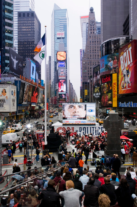 New Yorkers gather in Times Square to follow the day's progress as Americans cast in their vote.