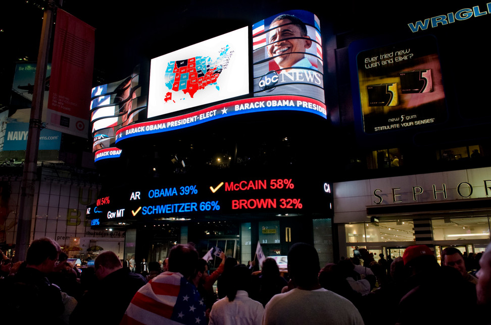 In Times Square at 1.30 am, crowds still gather to celebrate the results.