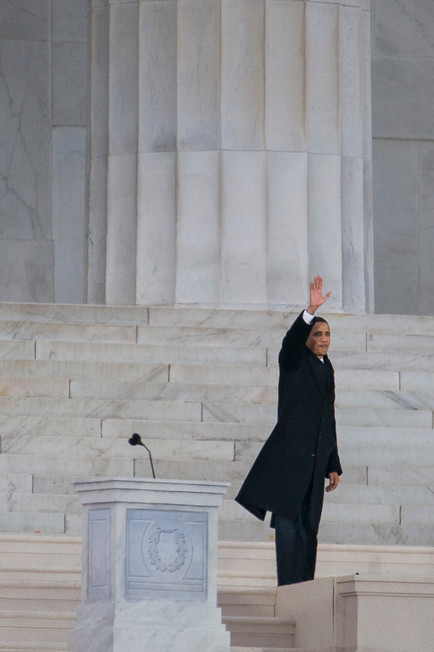 """Obama delivers his address from Lincoln Memorial, where Martin Luther King Jr. had given his """"I Have a Dream"""" speech in 1963."""