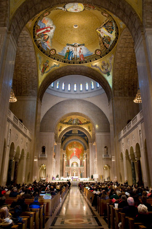 Anti-abortion protesters gather at the Basilica of the National Shrine in Washington DC. 2009