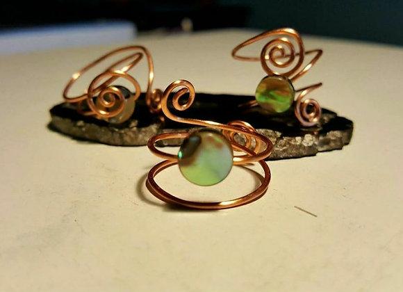 Abalone Shell Magical Midi Ring Set (3)