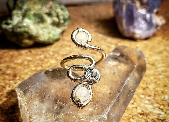 Adjustable Mini Midi Rose Quartz Flow Ring