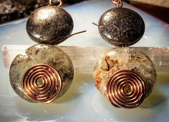 Pyrite and Prehinite Earrings