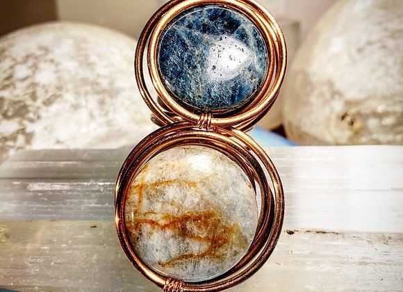 Apatite and Aquamarine Infinity Pool Ring in Copper