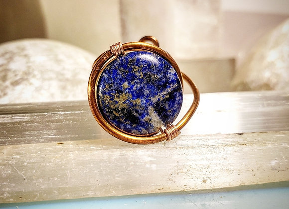 Adjustable Lapis Lazuli Ring in Copper