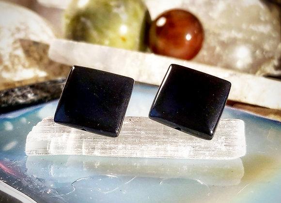 Four Corner Obsidian Cufflinks