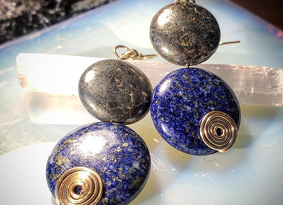 Pyrite and Lapis Lazuli Earrings