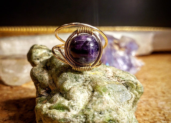 Amethyst Globe Ring in Gold Plated Copper