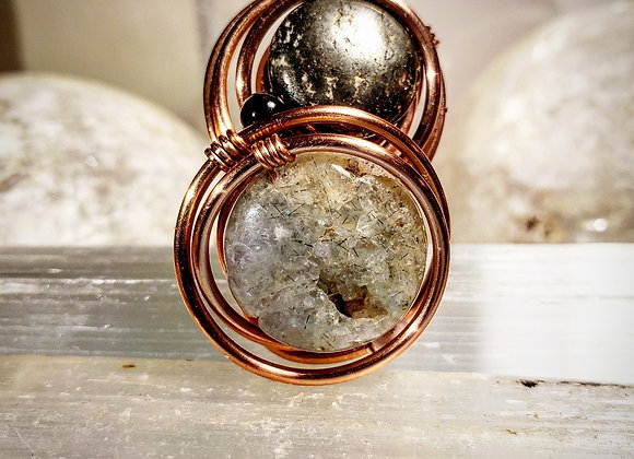 Phrenite and Pyrite Ring in Copper  with Mini Hawks Eye and Rhodochrosite Moons