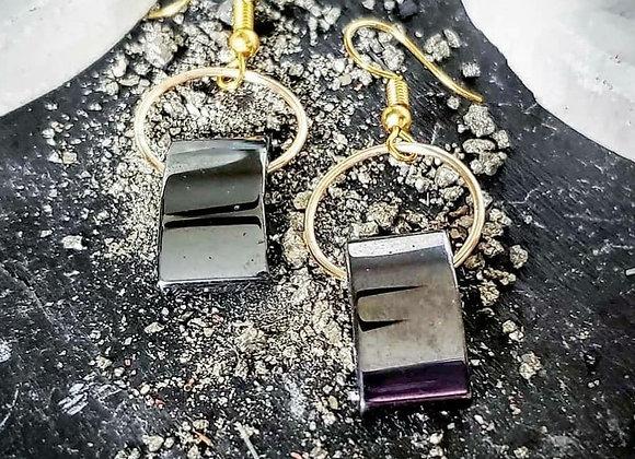 Hematite Hump Dangle Earrings
