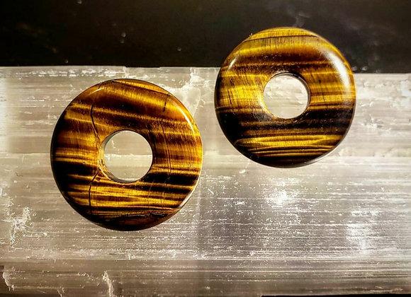 Yellow Tiger's Eye Donut Portal post earrings