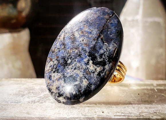 Adjustable Sodalite Oval Floater Ring