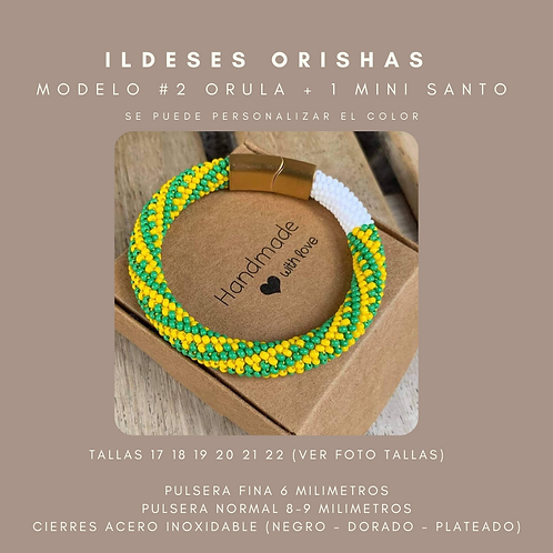 MODELO #2 IDDE, ILDE, PULSERA ORULA + 1 MINI SANTO