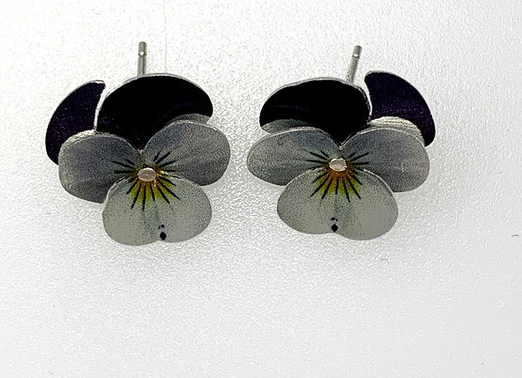 Small pansy ear studs (printed aluminium) on silver wires